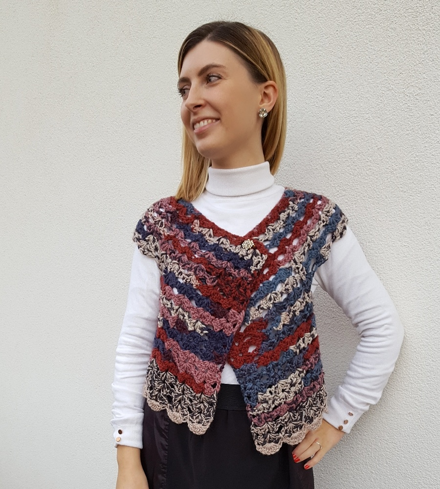 Cardigan top down all'uncinetto