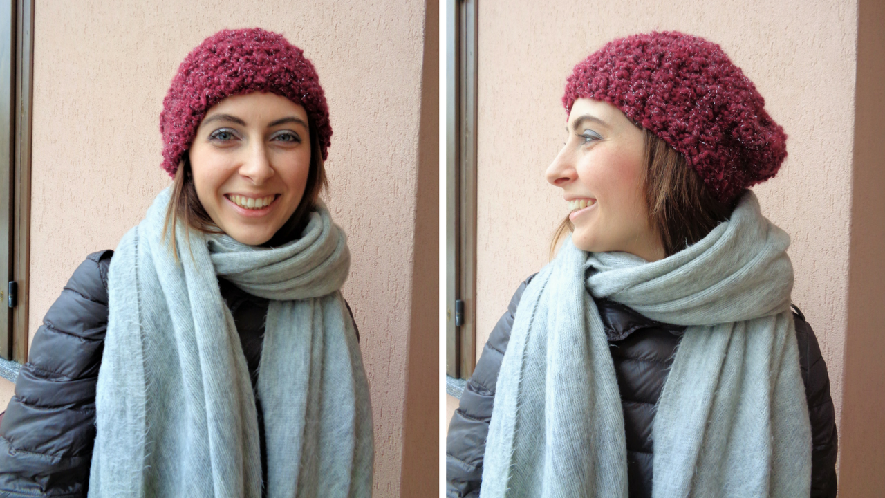 Cappello di lana grossa all'uncinetto
