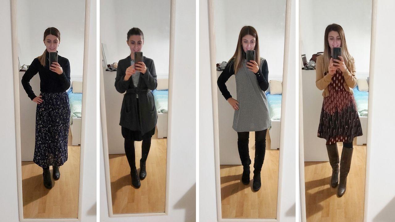 5 outfit invernali per l'ufficio  con abiti di seconda mano e cuciti da me