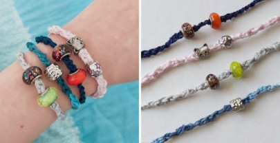 Bracciali all'uncinetto con perline